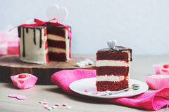 Cake on the pink sackcloth Royalty Free Stock Image
