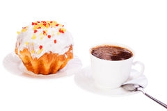 Cake on a plate with  cup of coffee on white isolated Royalty Free Stock Photography