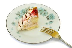 Cake on plate and fork Stock Photos