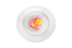 Cake on a plate including clipping path Royalty Free Stock Images