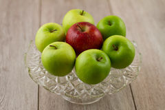 Cake plate of seven apples Stock Photo