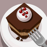 Cake on the plate. Vector image of the piece of cake lying on the plate Stock Photography