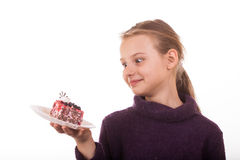 Cake on plates and juice cups isolate on white Royalty Free Stock Photo