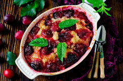Cake with plums Royalty Free Stock Images