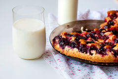 Cake with plums and a glass of milk for breakfast. Delicious sponge cake with red plums for breakfast selective focus toned photo Royalty Free Stock Photo