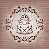 Cake on polka dot background Stock Images
