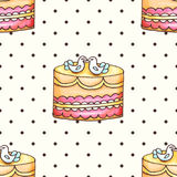 Cake with polka dotsseamless pattern illustration. Pastry and bakery background. Vector design for baker shop, cafe. Cake with polka dots seamless pattern Stock Photos