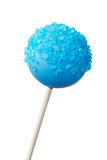 Cake pop. Blue cake pop isolated against white Stock Photography