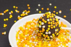 Cake pop with sprinkles. Cake pop with brightly colored sprinkles Royalty Free Stock Photos