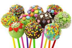 Cake Pop. Close up of decorated sweet food with white background Royalty Free Stock Image