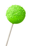 Cake pop. Green cake pop isolated against white Stock Photo