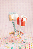 Cake pops as a gift with a candle. For celebration or maybe for valentine Royalty Free Stock Photography