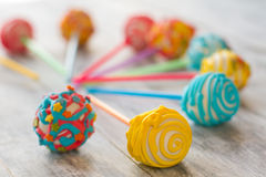Cake pops of bright color. Royalty Free Stock Photo