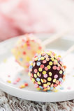 Cake pops. Chocolate cake pops with candied confetti Royalty Free Stock Photos