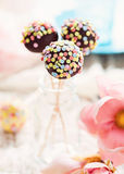 Cake pops. Chocolate cake pops with candied confetti Royalty Free Stock Photography