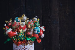 Cake pops with Christmas decoration Royalty Free Stock Photography
