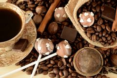 Cake pops with coffee glazing. Coffee beans, chocolate pieces and cinnamon sticks Royalty Free Stock Photography