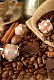 Cake pops with coffee glazing. Coffee beans, chocolate pieces and cinnamon sticks Stock Image