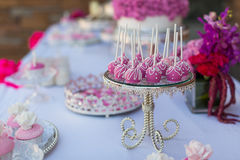 Cake pops and cupcakes. Wedding cake pops and cupcakes royalty free stock photography