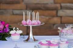 Cake pops and cupcakes Royalty Free Stock Photography
