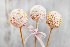 Cake pops decorated with sprinkles Stock Photography