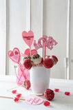 Cake pops with decorations on table Royalty Free Stock Photo