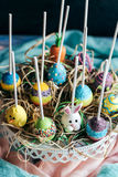 Cake pops with Easter decoration Royalty Free Stock Image