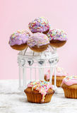 Cake pops and muffins Royalty Free Stock Images