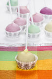 Cake pops in pastel colors, sweet dessert for kids Stock Image