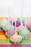 Cake pops in pastel colors, sweet dessert for kids Stock Photos