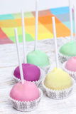 Cake pops in pastel colors, sweet dessert for kids Stock Photography