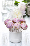 Cake pops and peony flower Royalty Free Stock Image