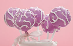 Cake pops on pink background Stock Photos