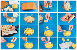 Cake pops step by step. A series of images that show how to make cake pops Royalty Free Stock Photography