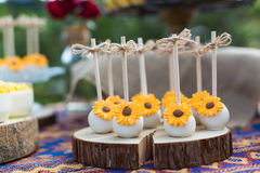 Cake pops. Wedding cake pops and cupcakes royalty free stock image