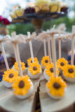 Cake pops. Wedding cake pops and cupcakes Royalty Free Stock Photography