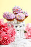 Cake pops on wooden background Stock Photography