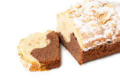Cake with powdered sugar and peanut Royalty Free Stock Images