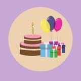 Cake Present Boxes Balloons Birthday Set Royalty Free Stock Photography