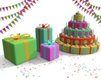 Cake presents flags and confetti. Party celebrating an anniversary with colorful cake, presents, candles, flags and other colorful elements Stock Image