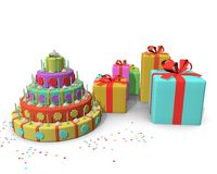 Cake and presents Royalty Free Stock Images