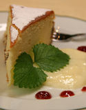 Cake with pudding. Part of cake with pudding on the plate Stock Images