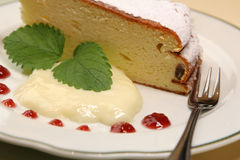 Cake with pudding. Part of cake with pudding on the plate Royalty Free Stock Photography