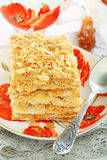 Cake of puff pastry with cream. Stock Photo