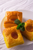 Cake of puff pastry with fresh mint Stock Images