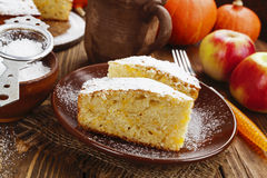 Cake with pumpkin and apples Royalty Free Stock Image