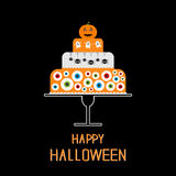 Cake with pumpkin, ghost, spider, web and eyeballs. Happy Halloween. Black background. Flat design Stock Images