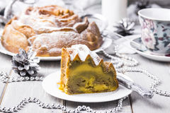 Cake with pumpkin, zucchini and matcha Royalty Free Stock Photography