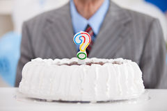 Cake with a question mark Royalty Free Stock Photography