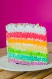 Cake. Rainbow cake in white dish Royalty Free Stock Photos